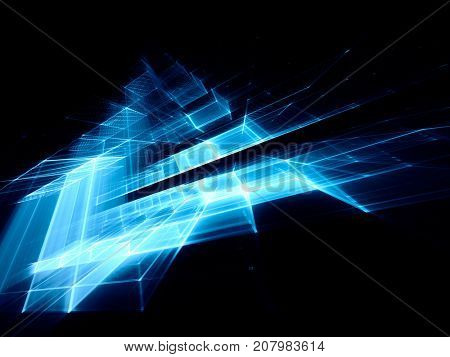 Abstract blue and black background element. Fractal graphics series. Three-dimensional composition of repeating grids. Information technology concept.