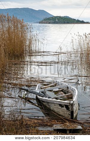 Traditional wooden boat at the Prespes lakes, Greece
