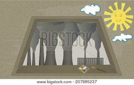View from window at Smoking chimneys of plant. Industrial landscape. Child's drawing on wall. Vector illustration of environmental pollution. Clouds of smoke from factory chimney. Horizontal location.