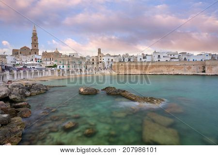 Panoramic view of Monopoli. Puglia Southern Italy. Sea in summer. Italian resort.