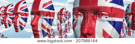 Surreal digital art. Woman's masks in Great Britain national colors hovers in the sky.  3D rendering