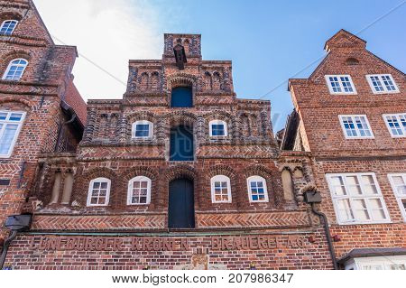LUNEBURG, GERMANY - MAY 21, 2017: Historic step gable of a brewery in Luneburg Germany