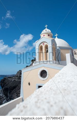 Church in Santorini, Greece. Travel to the island.