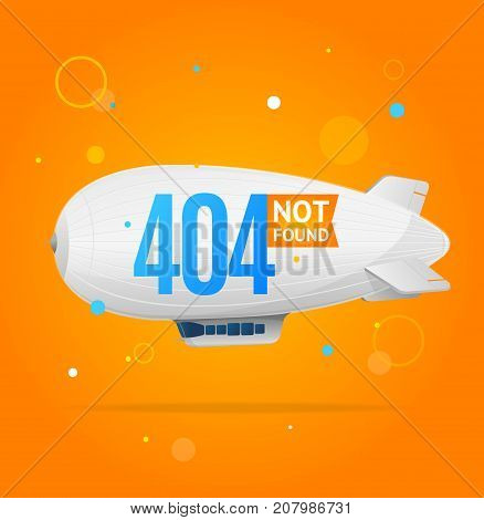 404 Not Found Concept with Round Geometric Shapes and Airship Flying Element Web Design Style. Vector illustration of Disconnect Problem