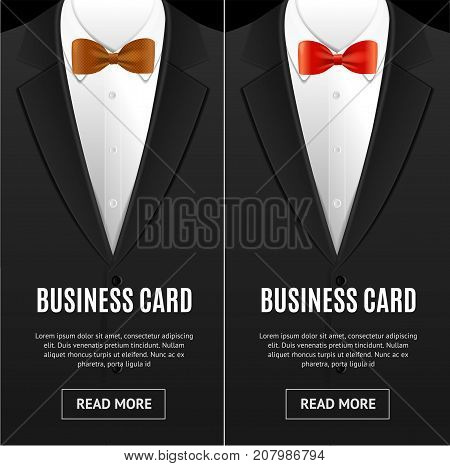 Business Card Bow Tie Vecrtical Set Realistic Male Accessory Company Fashion Concept. Vector illustration of Bowtie Cards