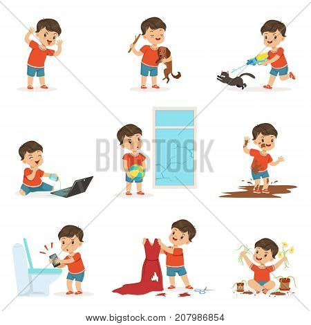 Funny little kid playing games and making mess set. Breaking things, posing faces, jumping into the mud, torturing animals. Trouble baby boy. Bad behavior. Cartoon child character isolated vector.