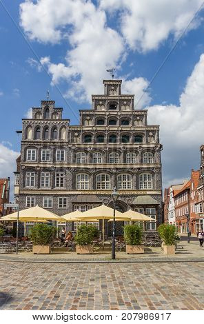 LUNEBURG, GERMANY - MAY 21, 2017: Chamber of Commerce at the central square of Luneburg Germany