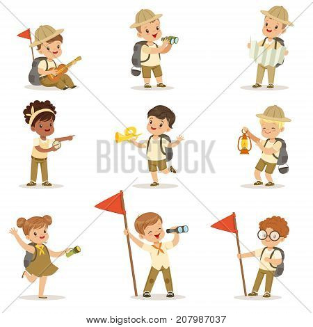 Set of kids in scout khaki costumes. Girls and boys with guitar, binoculars, map, compass, flashlight, flag. Summer children camp. Cartoon character isolated vector illustration. Vector illustration