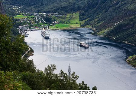 beautiful view to Geiranger fjord with cruise ship