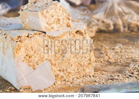 Turron or nougat sweets.Winter holidays sweets.Traditional Christmas sweets.