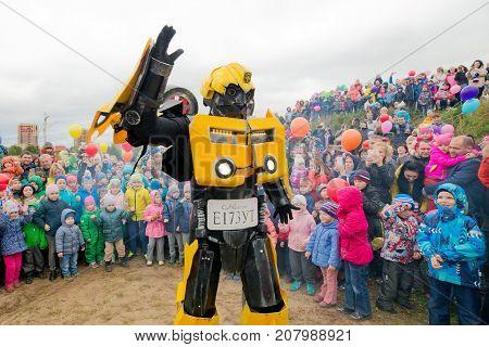 Russia. Moscow region. Balashikha - September 18, 2016. Transformers show on a children's holiday. horizontally