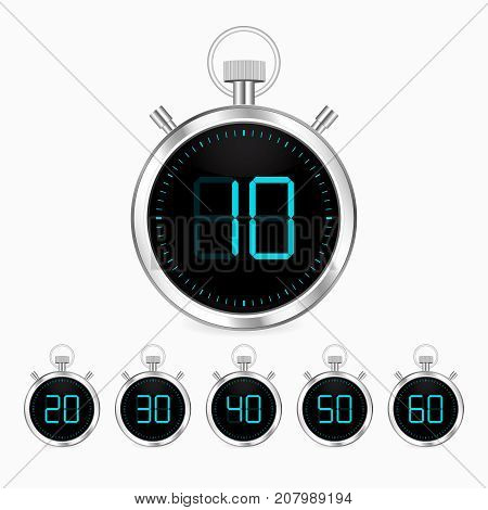 3d realistic stopwatch vector clock chrome timer