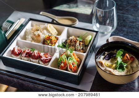 bento box and soup