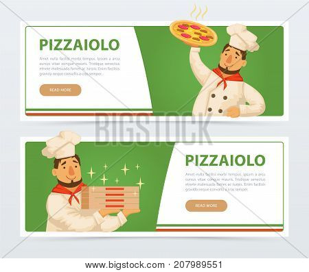 Pizzeria banner template. Italian pizzaiolo holding pepperoni pizza, boxes. Delivery service. Italy traditional meal. Popular street food. Flat vector element for website, mobile app. Man in chef hat.