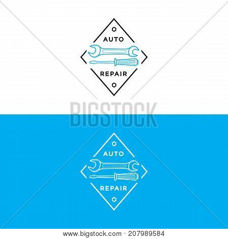 Set of auto repair logo blue black color isolated on background for auto service shop, car fix. Stamps, banners, labels, logotype, emblem and design elements for you business. Vector illustration