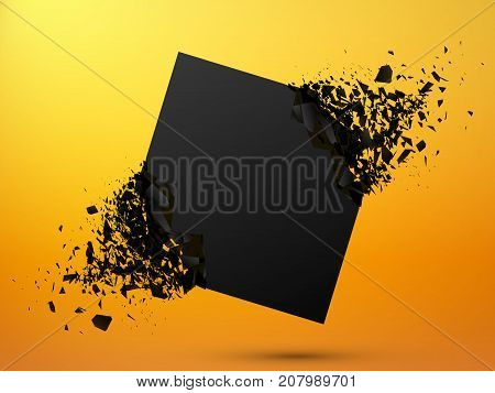 Black square stone with debris on yellow background. Abstract black explosion. Geometric background. Vector illustration poster