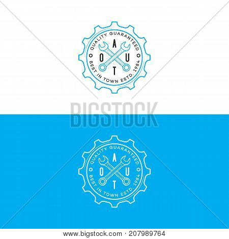 Set of auto logo with gear and wrench line style isolated on background for auto repair shop, car fix, service market. Stamps, banners, labels, logotype, emblem. Vector illustration