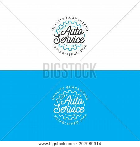 Set of auto service logo with gear line style isolated on background for auto repair shop, car fix, market. Stamps, banners, labels, logotype, emblem, design for you business. Vector illustration
