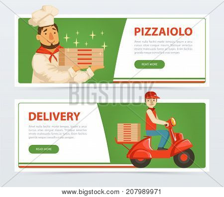 Pizzeria banner template. Italian pizzaiolo holding pepperoni pizza. Delivery courier riding red motor bike. Italy traditional meal. Popular street food. Flat vector element for website or mobile app.