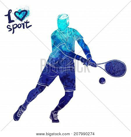 Bright watercolor silhouette of tennis player. Vector sport illustration. Graphic figure of the athlete. Active people. Recreation lifestyle. Man. Logo I love sport.