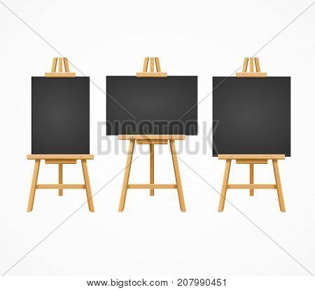 Black Board Easel Blank Empty Template Set for Ad, Invitation, Presentation Concept Restaurant Bar Menu. Vector illustration of Blackboards
