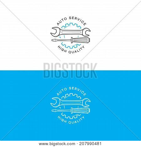 Set of auto service logo with gear, wrench, screwdriver line style isolated on background for auto repair shop, car fix, market. Stamps, banners, labels, logotype, emblem. Vector illustration