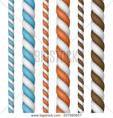 Realistic 3d Detailed Color Thickness Rope Line Set Twisted Nautical Cord for Borders or Frames. Vector illustration of Ropes