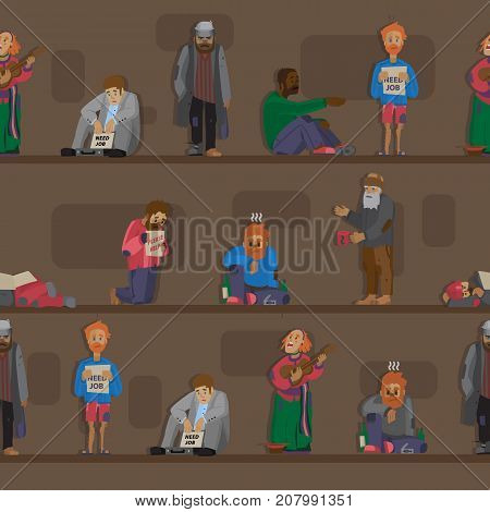 Homeless people characters set unemployment men needing help bums and hobos stray vector illustrations. Homelessness beggar problem cadger human seamless pattern background