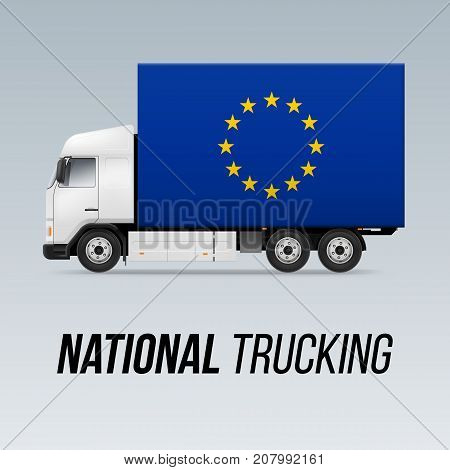 Symbol of National Delivery Truck with Flag of European Union. National Trucking Icon and EU flag