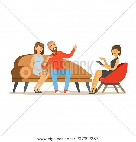 Young family couple characters talking to female psychologist about their problems, psychotherapy counseling, psychologist having session with patient vector Illustration isolated on a white background