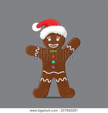 Gingerbread man in xmas hat. Christmas cookie holiday, sweet food, traditional biscuit, vector illustration