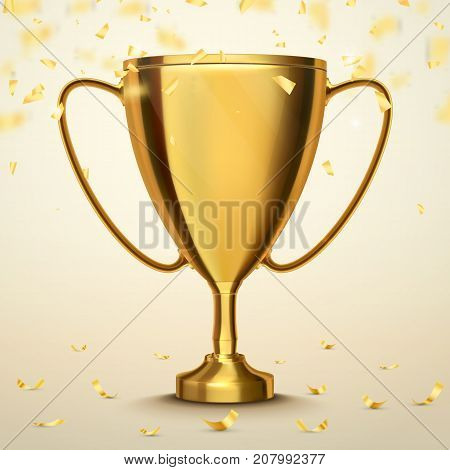 Trophy cup with golden confetti. Winner concept. Vector illustration