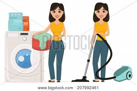 Housewife washes clothes in the washing machine vacuuming home with a vacuum cleaner set. Pretty woman doing domestic work. Cartoon character. Vector illustration