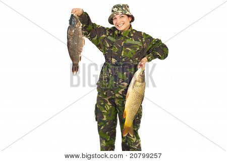 Laughing Fisherwoman With Big Captures