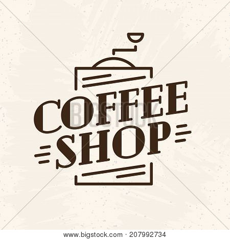 Coffee shop logo with coffee machine line style isolated on background for cafe, restaurant, shop, market, menu. Labels, badges and branding objects. Vector illustration