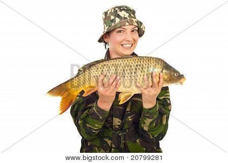 Happy Fisherwoman With Big Fish