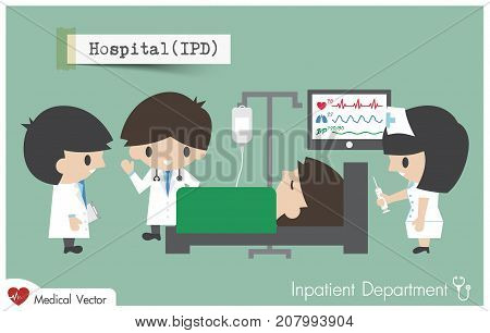 Inpatient department in Hospital . Staff general practitioner and nurse plan to treat their patient . Vector .