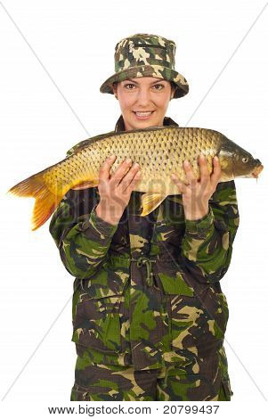 Beauty Fisher Woman Holding Carp