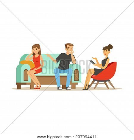 Unhappy family couple characters talking to female psychologist about their problems, psychotherapy counseling, psychologist having session with patient vector Illustration isolated on a white background