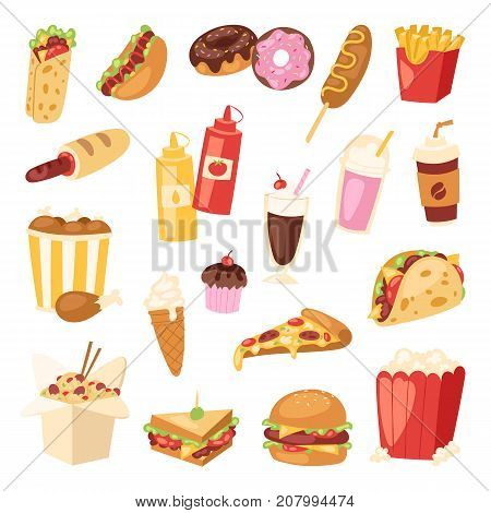 Cartoon fast food unhealthy burger sandwich hamburger pizza meal restaurant menu snack vector illustration. Tasty fried hot bread breakfast lunch.