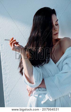 Attractive Woman Smoking Cigarette