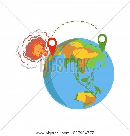Globe with pins, migrant route from Syria vector Illustration isolated on a white background