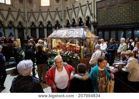 ZAGREB, CROATIA - APRIL 14: Worshippers gather to look at the relics of Blessed Aloysius Atepinac in Zagreb cathedral, Zagreb, Croatia on April 14, 2016.