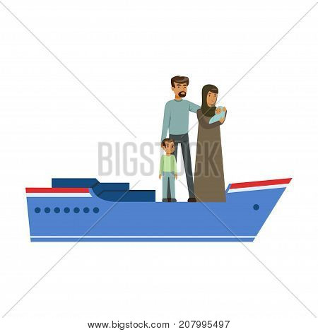 Stateless refugee family on a boat, illegal migration, war victims concept vector Illustration isolated on a white background