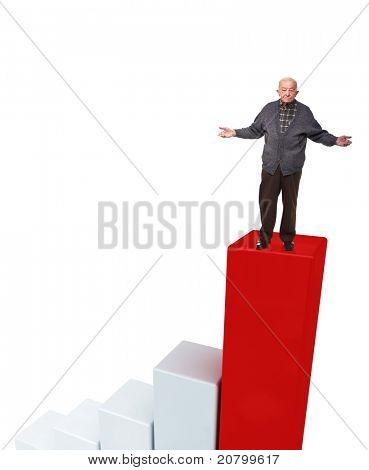 standing old man open arms on 3d chart poster
