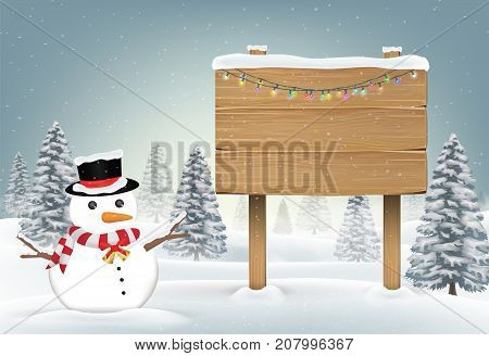 christmas snowman with wood board sign on snow