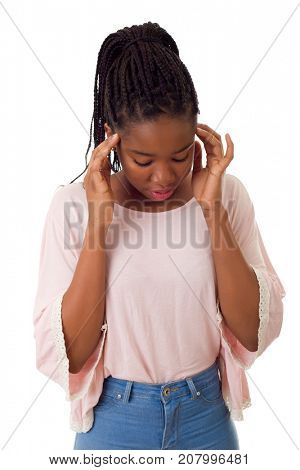 Young african woman with an headache, isolated over a white background