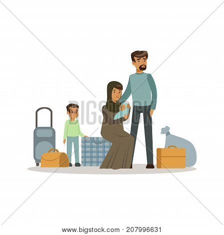 Stateless refugee family with suitcases, war victims concept vector Illustration isolated on a white background