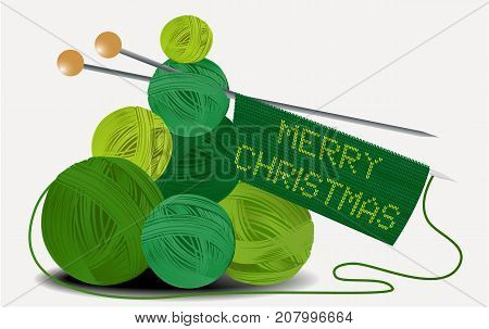 Christmas handcraft background with wool balls - vector illustration