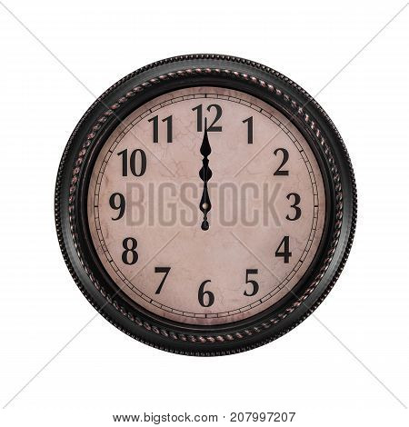 Ancient wall clock on a white background. The clock is midnight or noon.